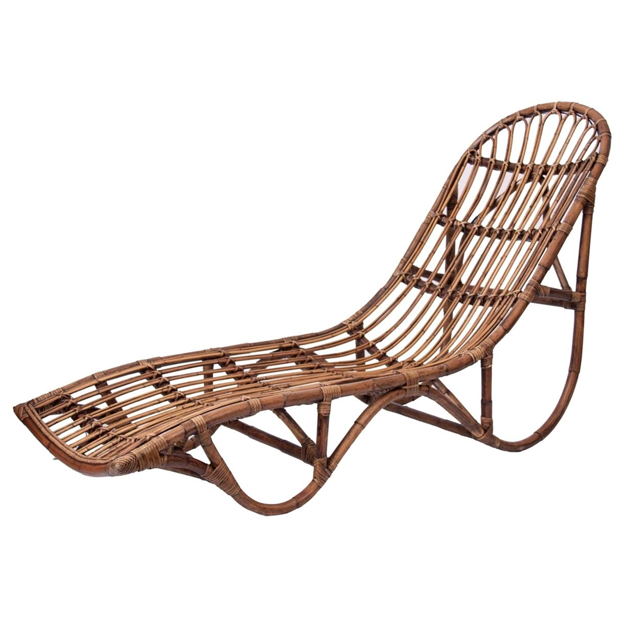 1960s Italian Design Style Rattan Daybed or Lounger Chaise Longue