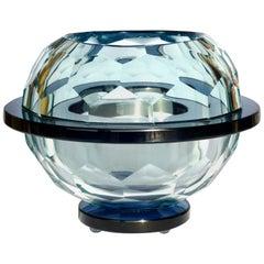 1960s Italian Design Diamond Glass Bowl