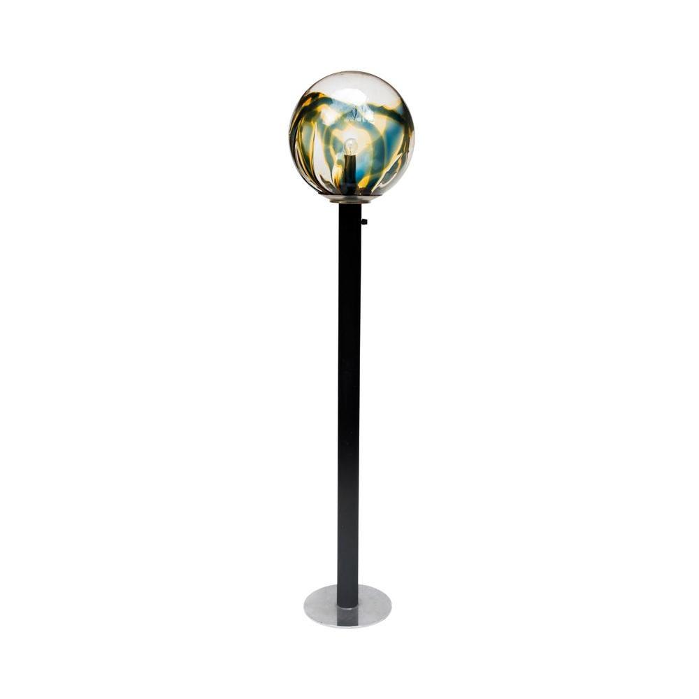 1960s Italian Design Floor Light by Gae Aulenti Blown Glass Spherical Shade