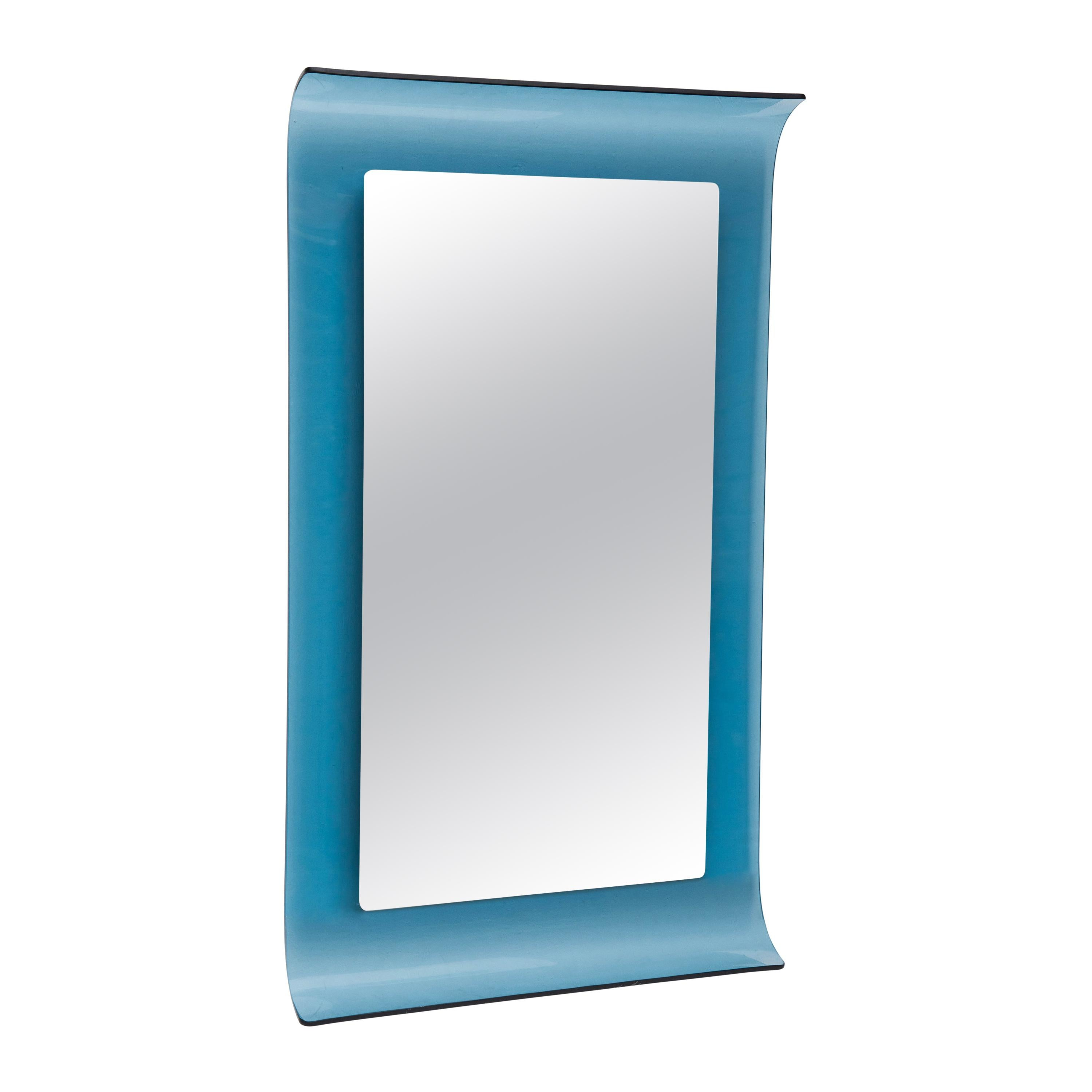 1960s Italian Design Mirror Very Iconic Blue Crystal Curved Edges Glass Mirror