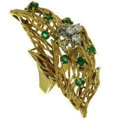 1960s, Italian Diamond Emerald Yellow Gold Ring