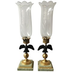 1960s Italian Eagle Hurricane Candle Lamps