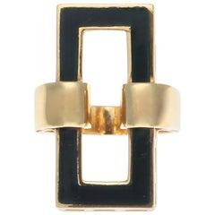 1960s Italian Enamel 18 Karat Gold Ring