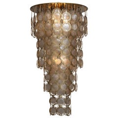 """1960s, Italian Extra Large Brass and Shell Chandelier """"Mother of Pearl"""""""