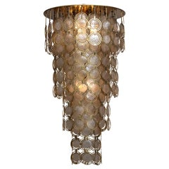 1960s, Italian Extra Large Brass and Shell Chandelier 'Mother of Pearl'