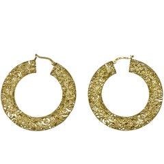1960s Italian Filigree Gold Hoop Earrings