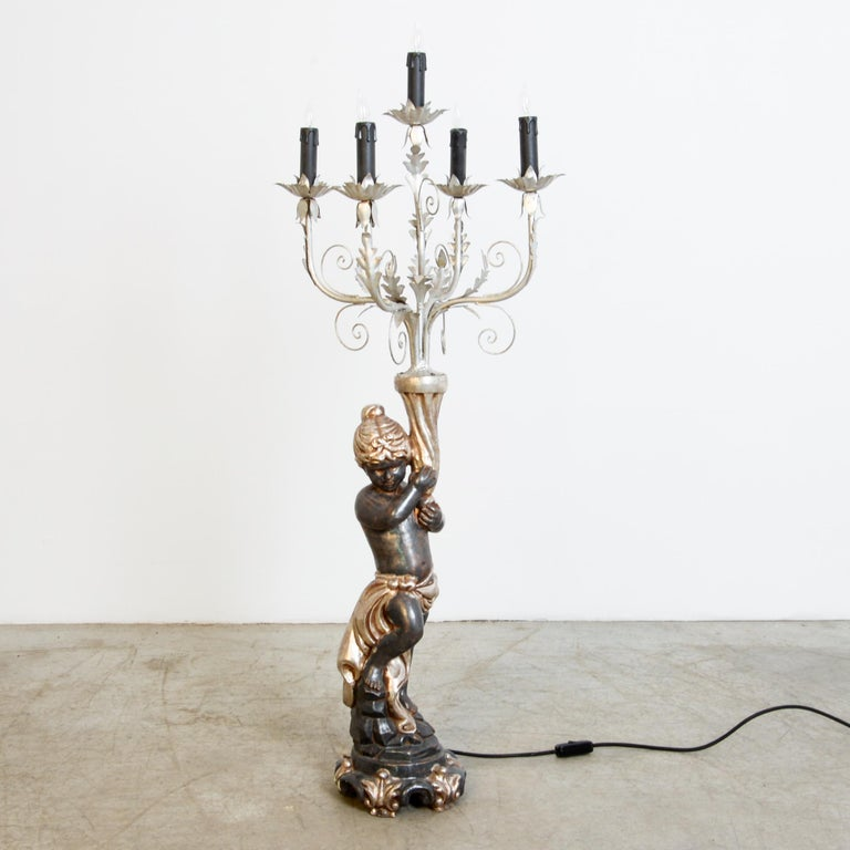 Mid-20th Century  1960s Italian Gilded Tole Figurative Lamp For Sale