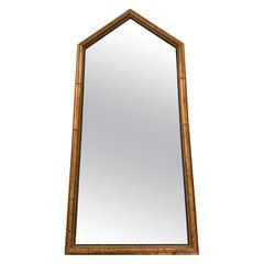 1960s Italian Gilt Faux Bamboo Pentagonal Mirror