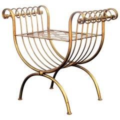 Italian Gilt Iron Curule Bench