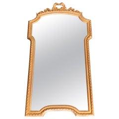 1960s Italian Gilt Scalloped Mirror with Ribbon Motif