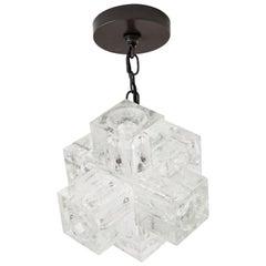 1960s Italian Glass Cube Chandelier by Poliarte