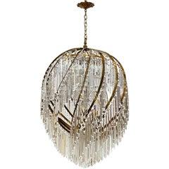 1960s Italian Grand Swirl Brass Crystal Chandelier from Beverly Hills