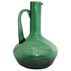 1960s Italian Green Glass Pitcher