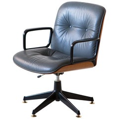 1960s Italian Grey Leather Desk Armchair by Ico Parisi for MIM Roma