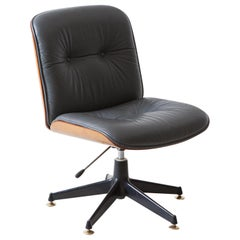 1960s Italian Grey Leather Desk Chair by Ico Parisi for MIM Roma