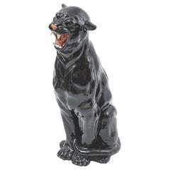 1960s Italian Hand Painted Ceramic Snarling Black Panther