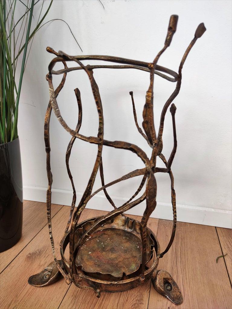 Wrought Iron 1960s Italian Hand Wrought-Iron Brutalist Salvino Marsura Umbrella Stand For Sale