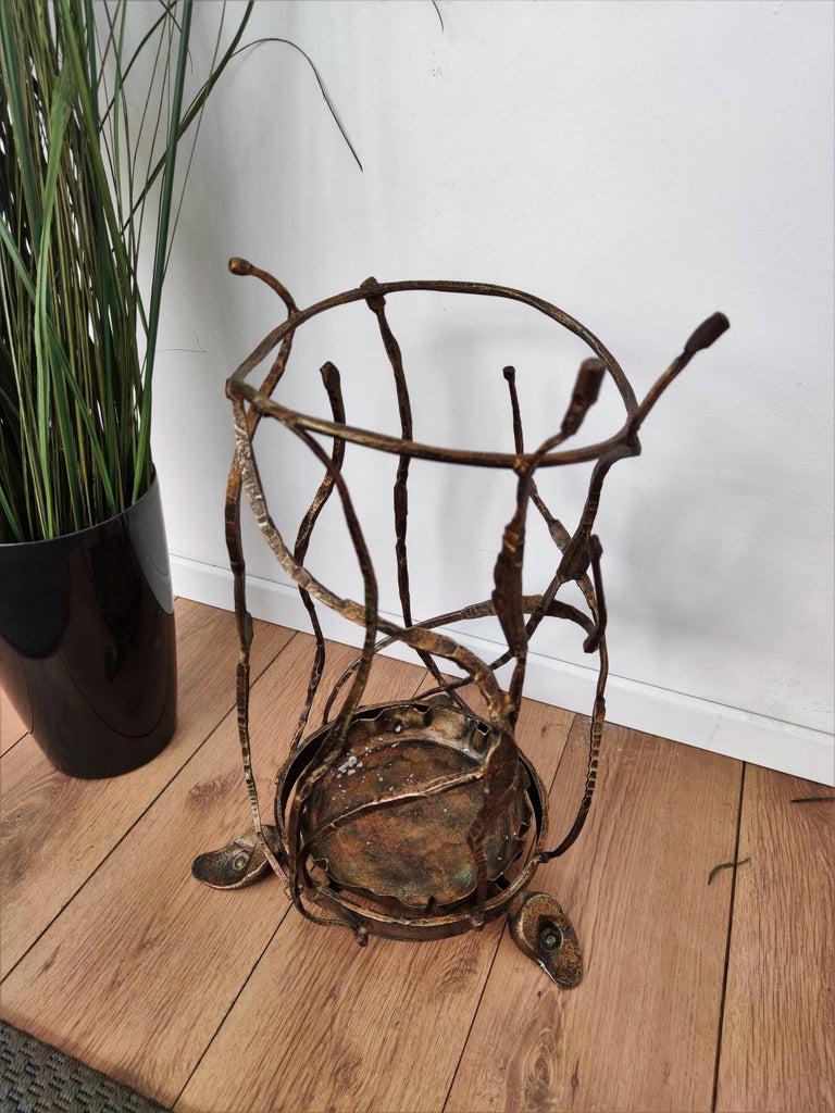 1960s Italian Hand Wrought-Iron Brutalist Salvino Marsura Umbrella Stand For Sale 1