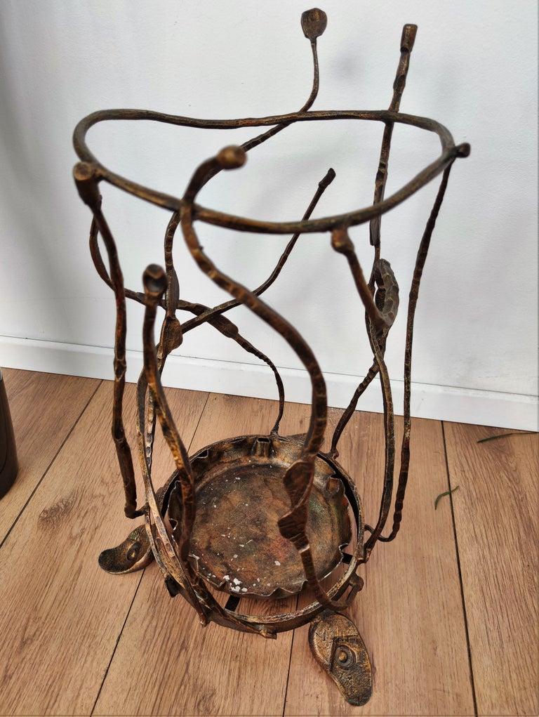 1960s Italian Hand Wrought-Iron Brutalist Salvino Marsura Umbrella Stand For Sale 2