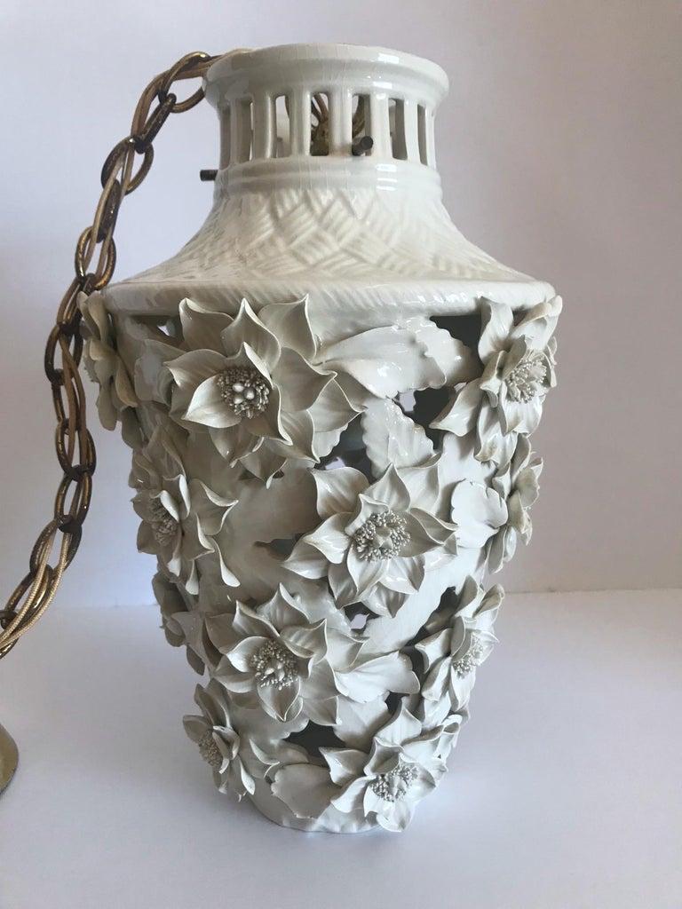 Mid-20th Century 1960s Italian Hollywood Regency Ceramic Floral Pendant Lights For Sale