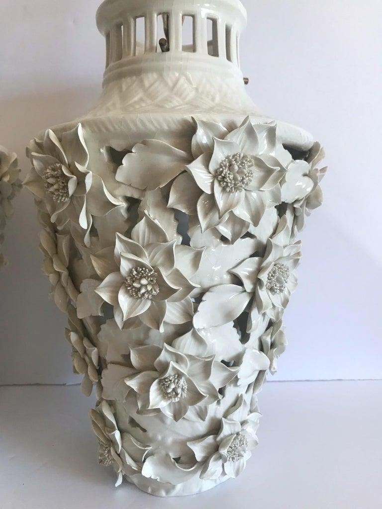 Brass 1960s Italian Hollywood Regency Ceramic Floral Pendant Lights For Sale