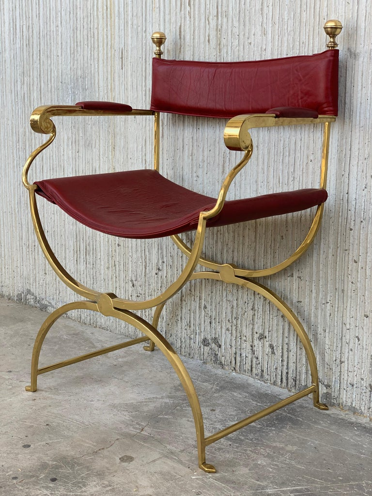 1960s Italian Hollywood Regency Chrome and Leather Savonarola Director's Chairs For Sale 5
