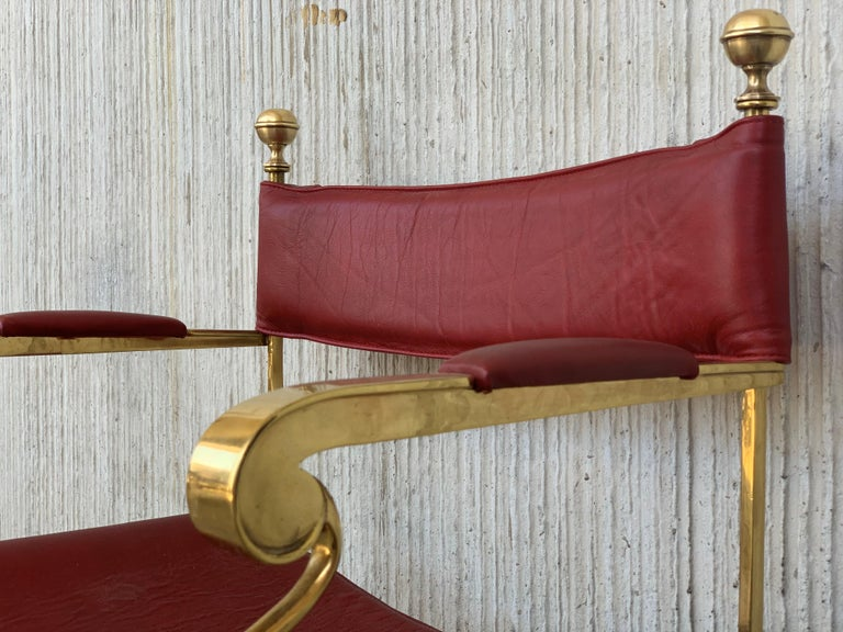 1960s Italian Hollywood Regency Chrome and Leather Savonarola Director's Chairs For Sale 9