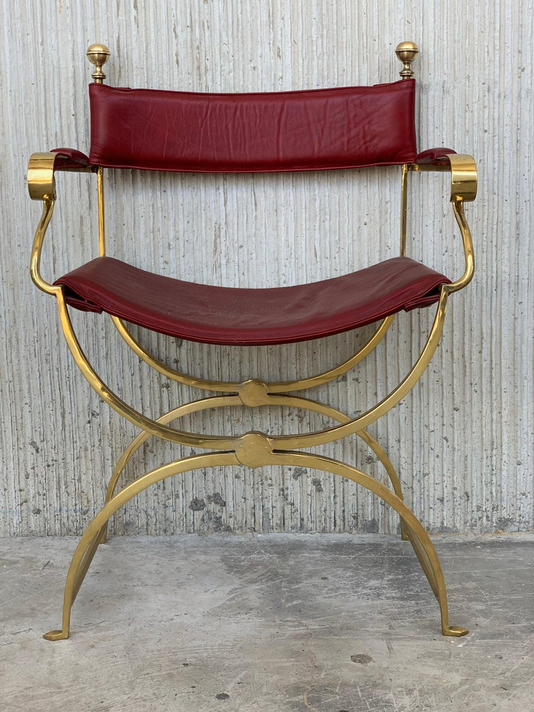 1960s Italian Hollywood Regency Chrome and Leather Savonarola Director's Chairs In Good Condition For Sale In Miami, FL