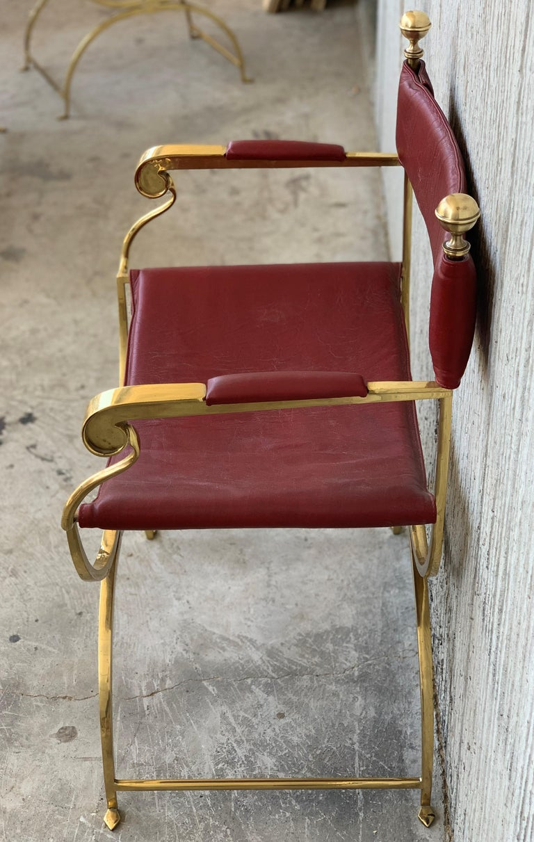 20th Century 1960s Italian Hollywood Regency Chrome and Leather Savonarola Director's Chairs For Sale