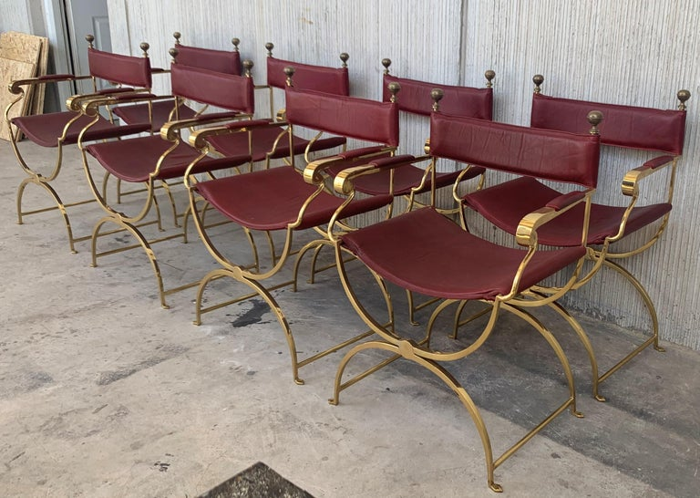 Bronze 1960s Italian Hollywood Regency Chrome and Leather Savonarola Director's Chairs For Sale