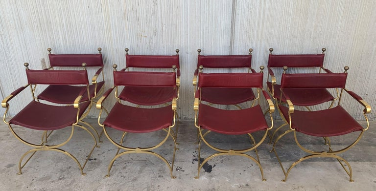 1960s Italian Hollywood Regency Chrome and Leather Savonarola Director's Chairs For Sale 1