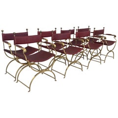 1960s Italian Hollywood Regency Chrome and Leather Savonarola Director's Chairs
