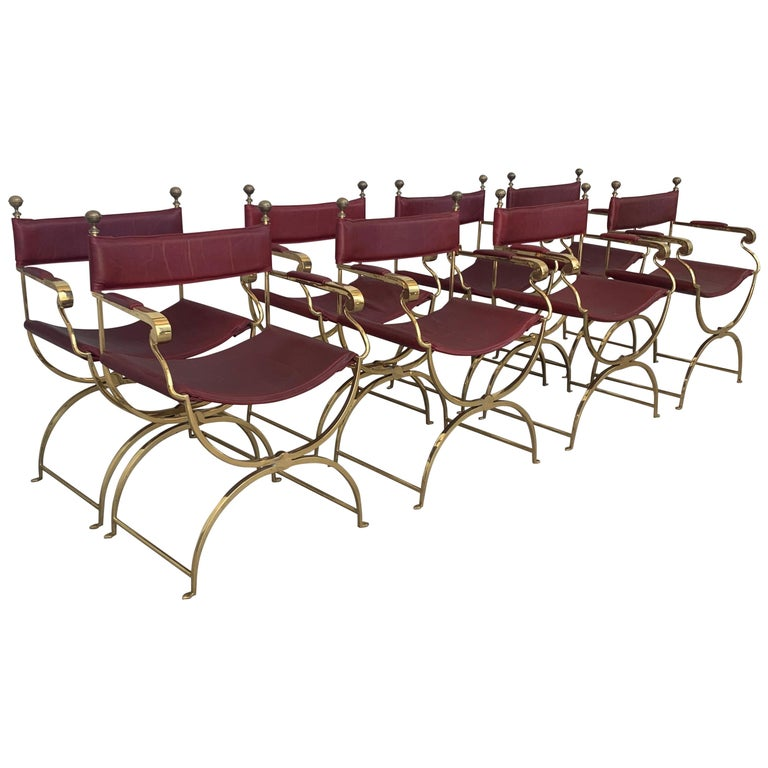 1960s Italian Hollywood Regency Chrome and Leather Savonarola Director's Chairs For Sale
