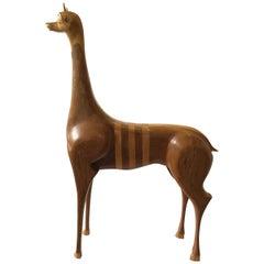 1960s Italian Inlaid Wood Gazelle