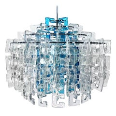 1960s Italian Interlocking Blue and Clear Murano C-Link Chandelier by Mazzega
