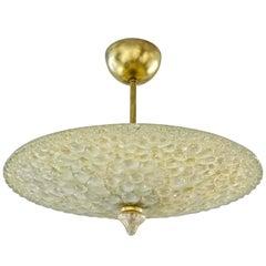 1960s Italian Ivory Flower Embossed Murano Glass Brass Flushmount / Pendant