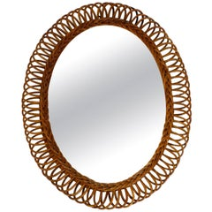 1960s Italian Large Oval Wall Mirror Made of Bamboo or Rattan in Loop Design