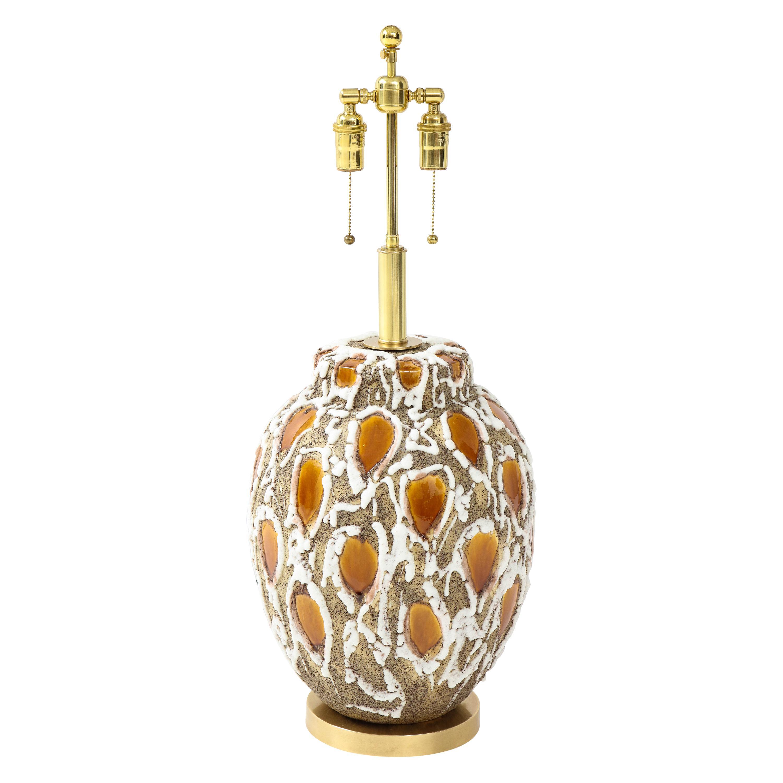 1960s Italian Lava Glazed Ceramic Lamp