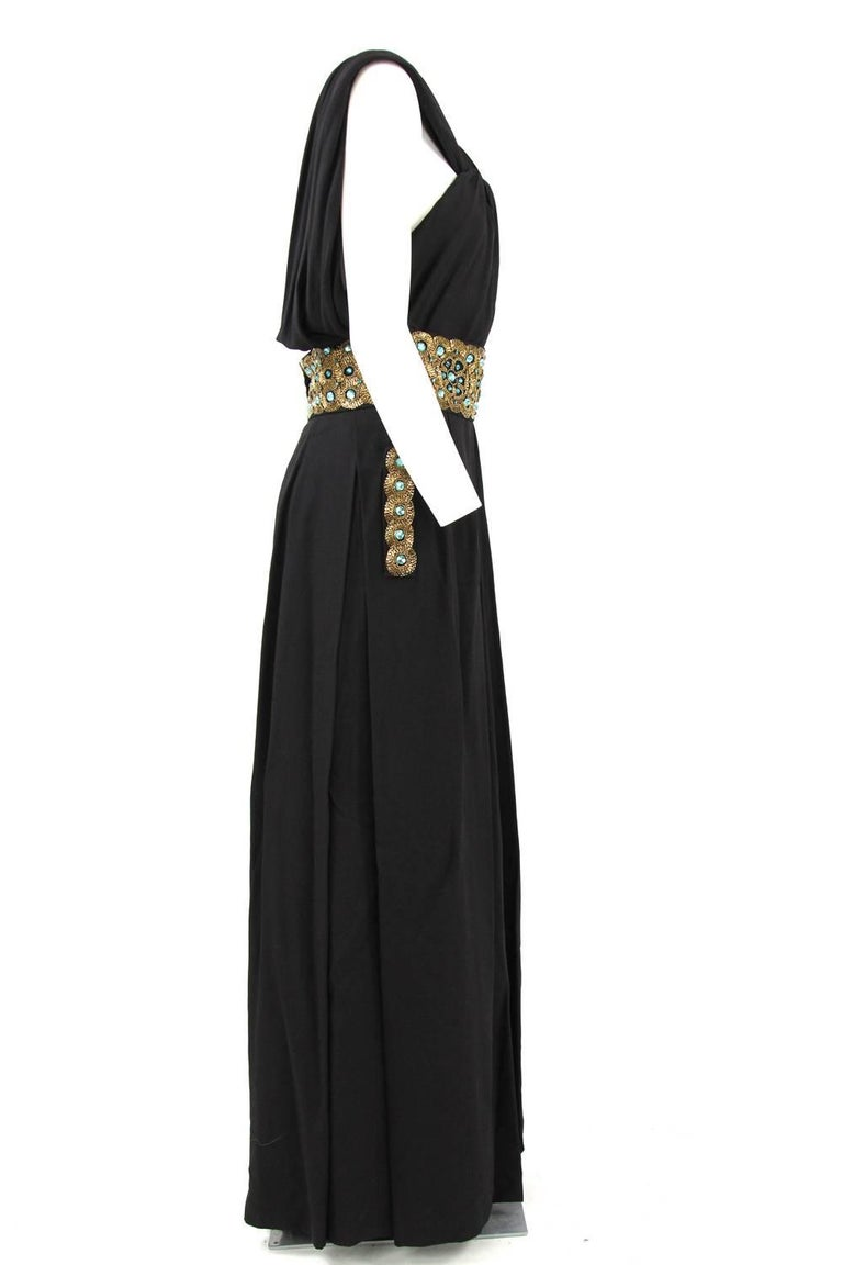 Black 1960s Italian Long Dress with Sequin Details For Sale