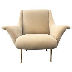 1960s Italian Lounge Chair on Brass Legs