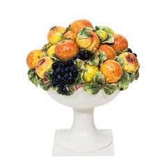 1960s Italian Majolica Ceramic Fruit Basket Center Piece