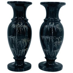 1960s Italian Marble Vases with Etched Bamboo Motif, Pair