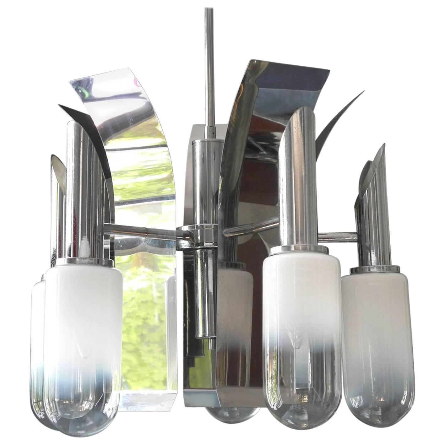 1960s Italian Mazzega Pop Art Space Age Chrome Ceiling Lamp with Glass Shades