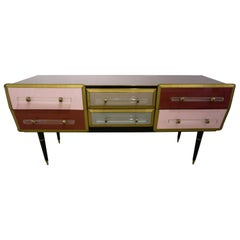 1960s Italian Mid-Century Modern Rose Pink Gray Wine Gold Sideboard / Console