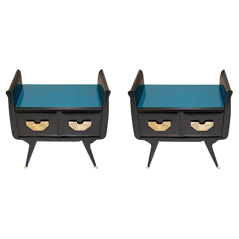 1960s Italian Mid-Century Modern Teal Blue & Black Lacquer Pair of Nightstands For Sale