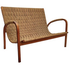 1960s Italian Midcentury Wood and Cord Woven Rope Lounge Bench Armchair