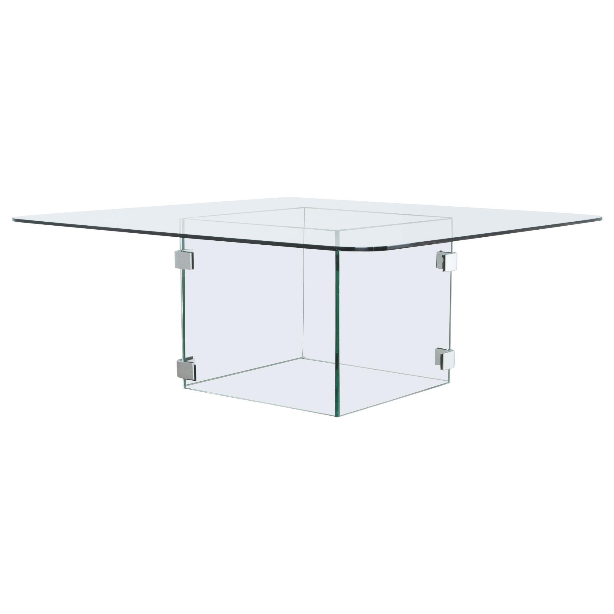 1960s Italian Minimal Glass Coffee Table