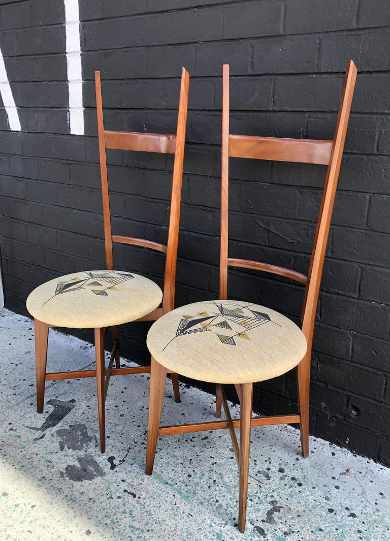 Mid-Century Modern Pair of 1960s Italian Modern Ladder Back Accent Chairs For Sale