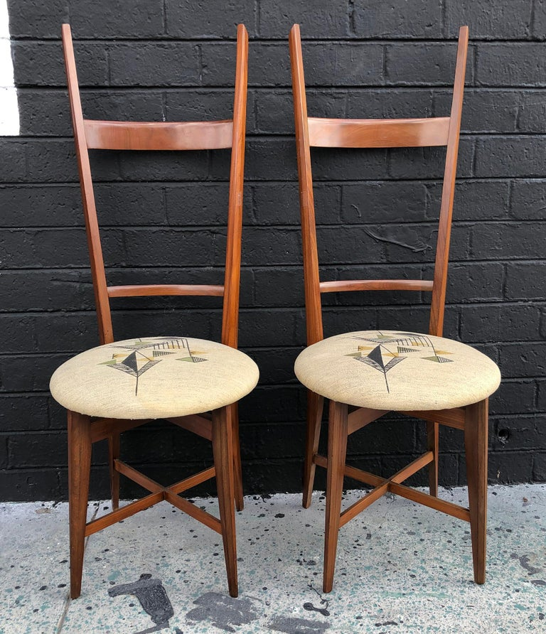 Pair of 1960s Italian Modern Ladder Back Accent Chairs In Good Condition For Sale In Tempe, AZ