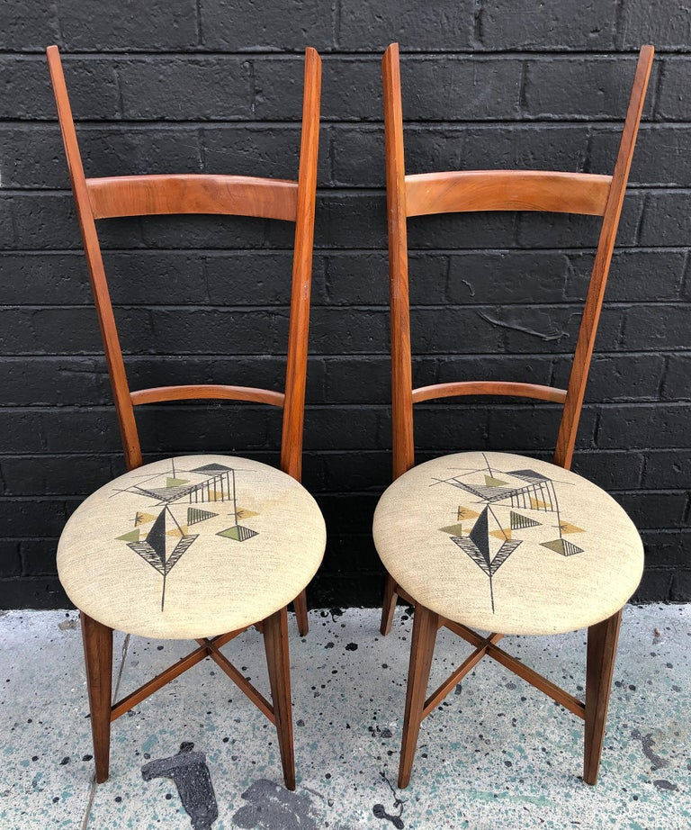 Mid-20th Century Pair of 1960s Italian Modern Ladder Back Accent Chairs For Sale
